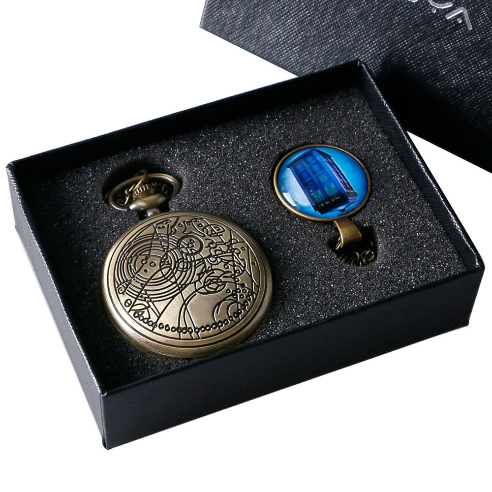 2017 Full Hunter Quartz Pocket Watch Doctor Who Set Design Men Women Brozne Antique Fob Clock Luxury Pendant Gift old antique bronze doctor who theme quartz pendant pocket watch with chain necklace free shipping