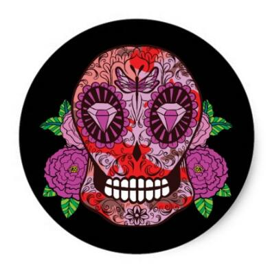 1 5inch pink camouflage sugar skull diamond eyes roses classic round sticker