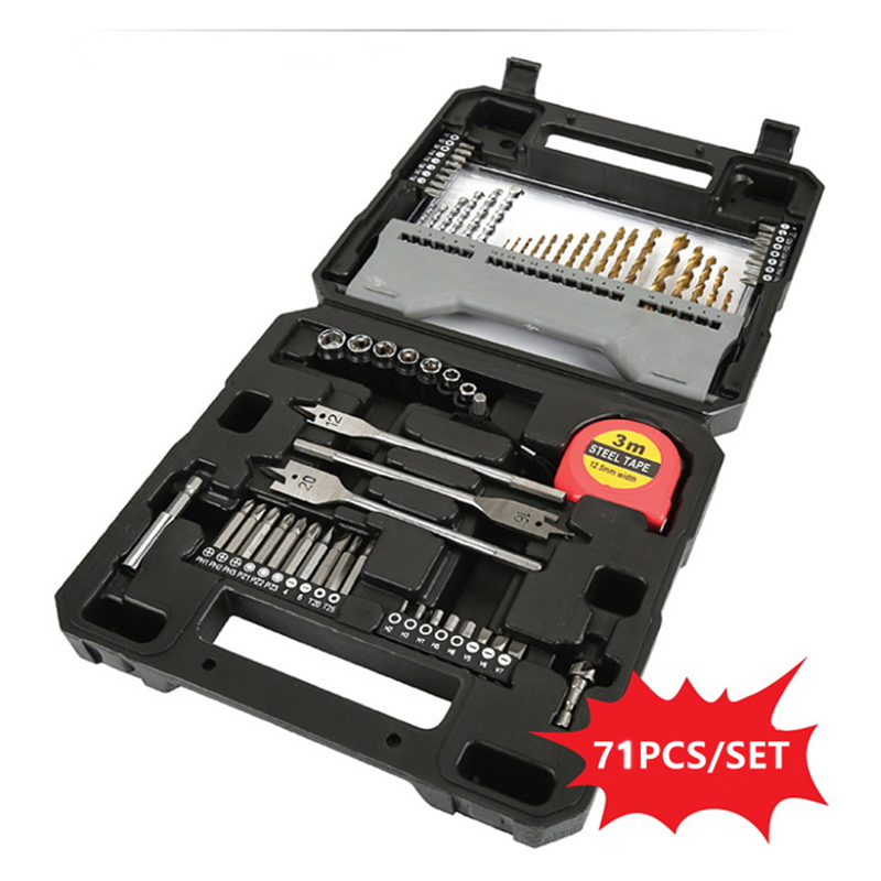 ФОТО 71pcs Multiple Home Household Drill Bit Set Combined Electric Drill Bit Tool Domestic Portable Repairings Power Manual Tools Kit