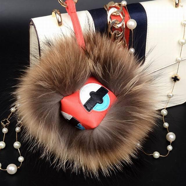Cute Fashion Fluffy Fox Raccoon Leather Monster Fur Balls Keychain Key Ring Bag Car Charm Fur Pom Keychai Nice