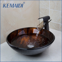 KEMAIDI Tempered Glass Basin Sink With Oil Rubbed Bronze Waterfall Faucet Taps Bathroom Water Drain Bathroom