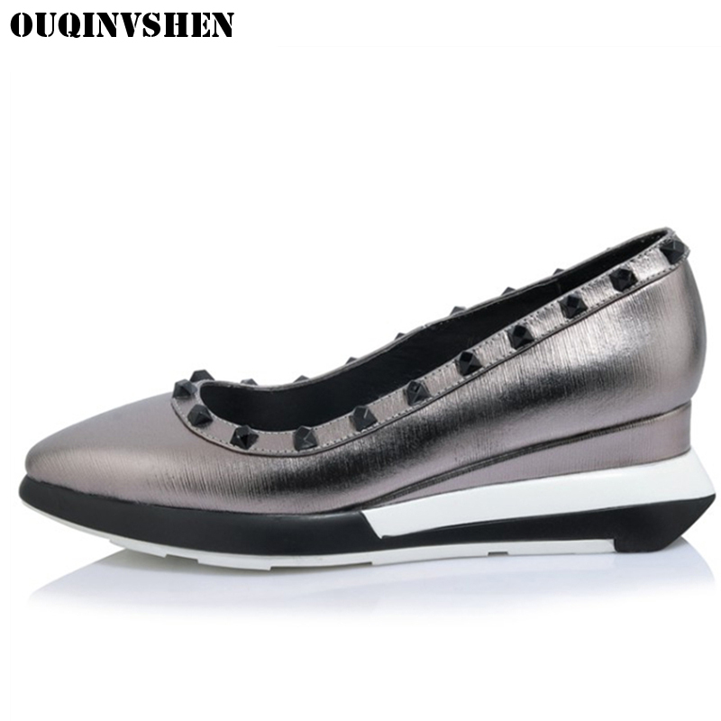OUQINVSHEN Wedges Rivet Flats Casual Fashion Women Flat Shoes Shallow Pointed Toe Casual Shoes Ladies Platform Flats Lazy Shoes flock women flats 2017 pointed toe ladies single shoes fashion shallow casual shoes plus size 40 43 small yards 33 sapatos
