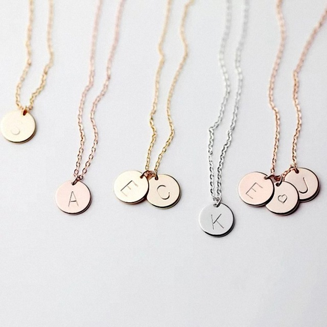 Tiny Gold Initial Necklace Gold Silver Letter Necklace