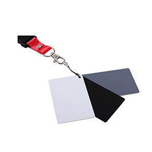 Black Gray White Balance Cards 18% Exposure Photography Cards Calibration Camera Checker with Neck Strap Portable 3 Colors