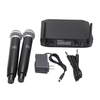 Smart Fm Uhf Wireless Microphone 2 Cordless Handheld Mic Free Frequency For Meeting Pc Speaker Amplifier Us Plug