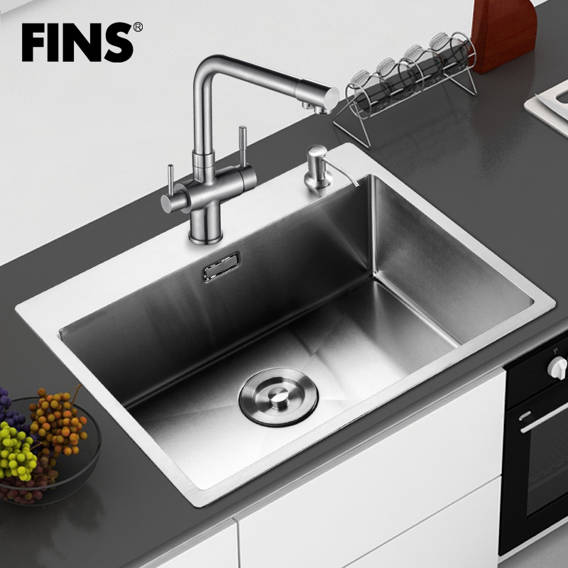 Stainless Steel Countertops With Sink: Handmade Sink Monocolpate Stainless Steel Pots Vegetables