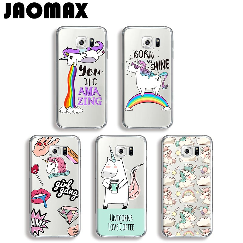 Jaomax Cute Animal Rainbow Unicorn Phone Case For Samsung Galaxy J7 Note 3 4 5 8 J3 J5 A3 A5 Transparent Silicone Luxury Cover