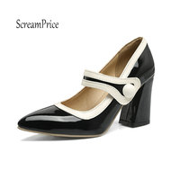 Women S Thick High Heel Ankle Strap Pumps Fashion Buckle Pointed Toe Spring Autumn Party Shoes