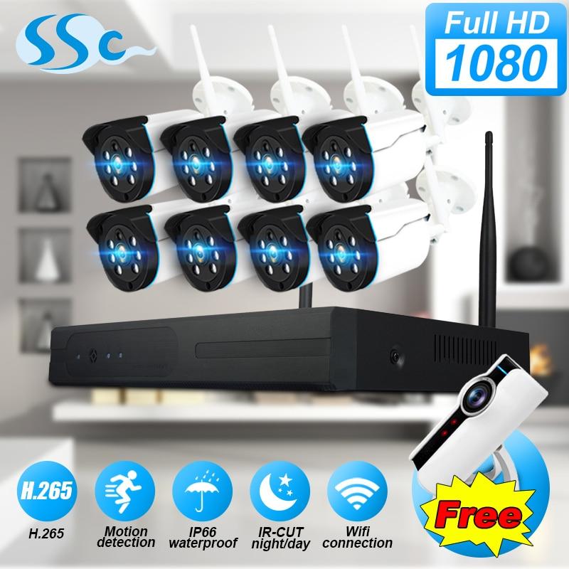2MP 1080 p HD 8CH WiFi sistema di telecamere di sicurezza di visione notturna IP66 impermeabile video di sorveglianza NVR kit sistema di TELECAMERE CCTV per la casa