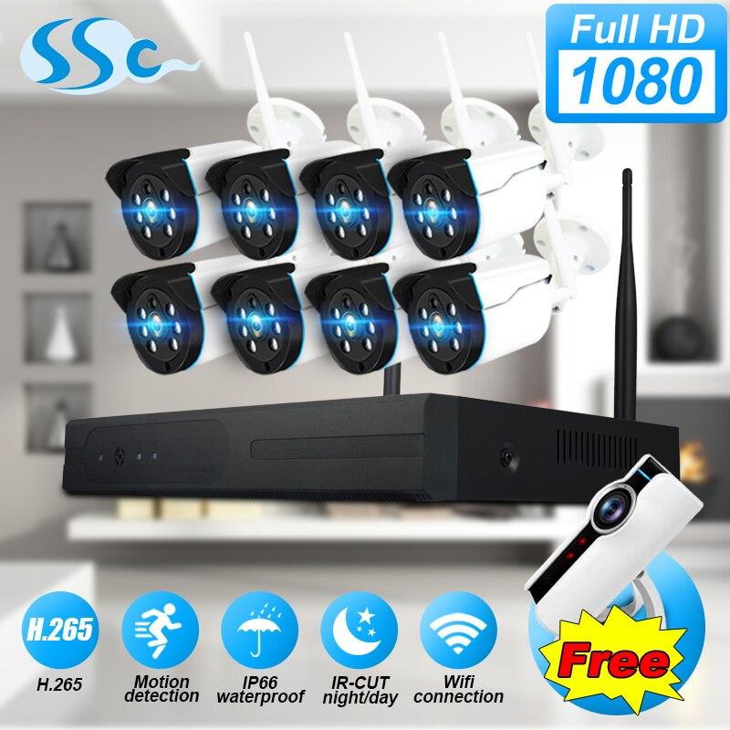2MP 1080 p HD 8CH WiFi sistema de cámaras de seguridad visión nocturna IP67 impermeable video vigilancia CCTV NVR kit sistema de cámara para el hogar
