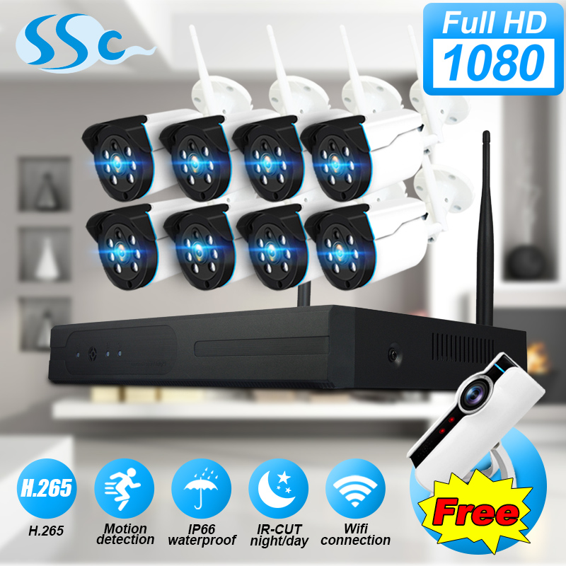 2MP 1080 p HD 8CH WiFi sicherheit kamera system nachtsicht IP67 wasserdichte video überwachung NVR kit CCTV kamera system für home