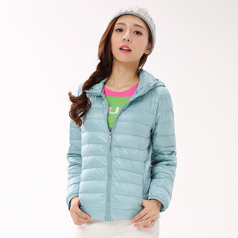 Winter Women Ultra Light Down Jacket 90% Duck Down Hooded Jackets Long Sleeve Warm Slim Coat Parka Female Solid Portable C76902M