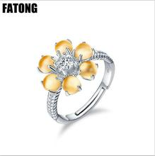 925 sterling silver natural citrine Korean version of the flower opening female ring J0188 все цены