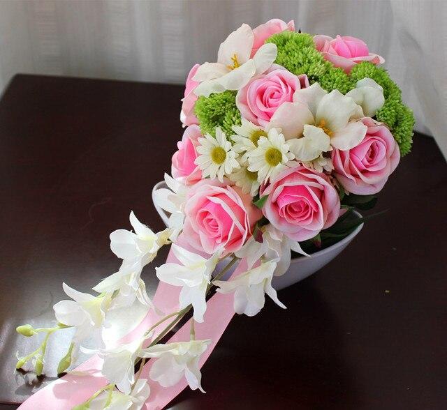 2017 Букет де mariage Дешевые Розовый и Белый Teardrop Свадебный Букет Невесты Свадебный Букет Искусственный Роуз Свадебный Букет