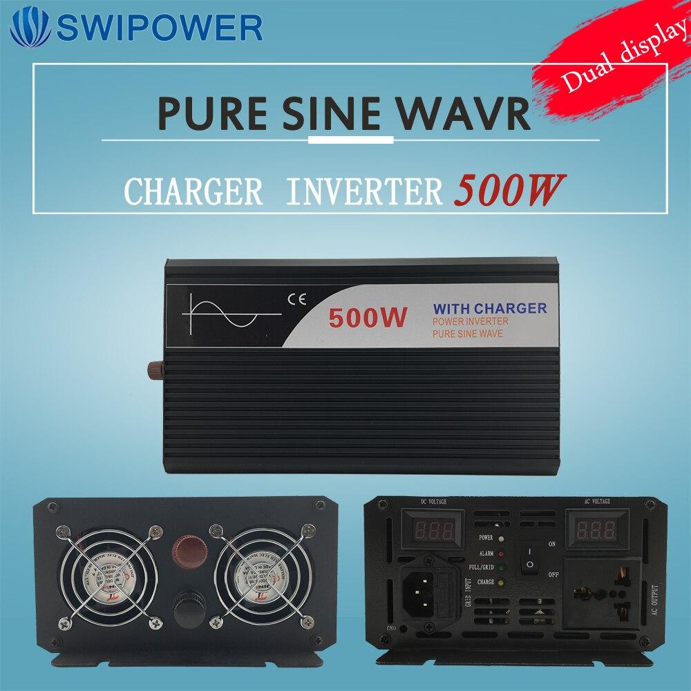 Ups onduleur 500 W pur onduleur à onde sinusoïdale avec chargeur 12 V 24 V 48 v DC à AC 220 V 230 V 240 v solaire puissance onduleur