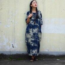 Johnature винтажное платье из хлопка и льна с коротким рукавом размера плюс, новинка, весеннее женское платье синего и белого цветов