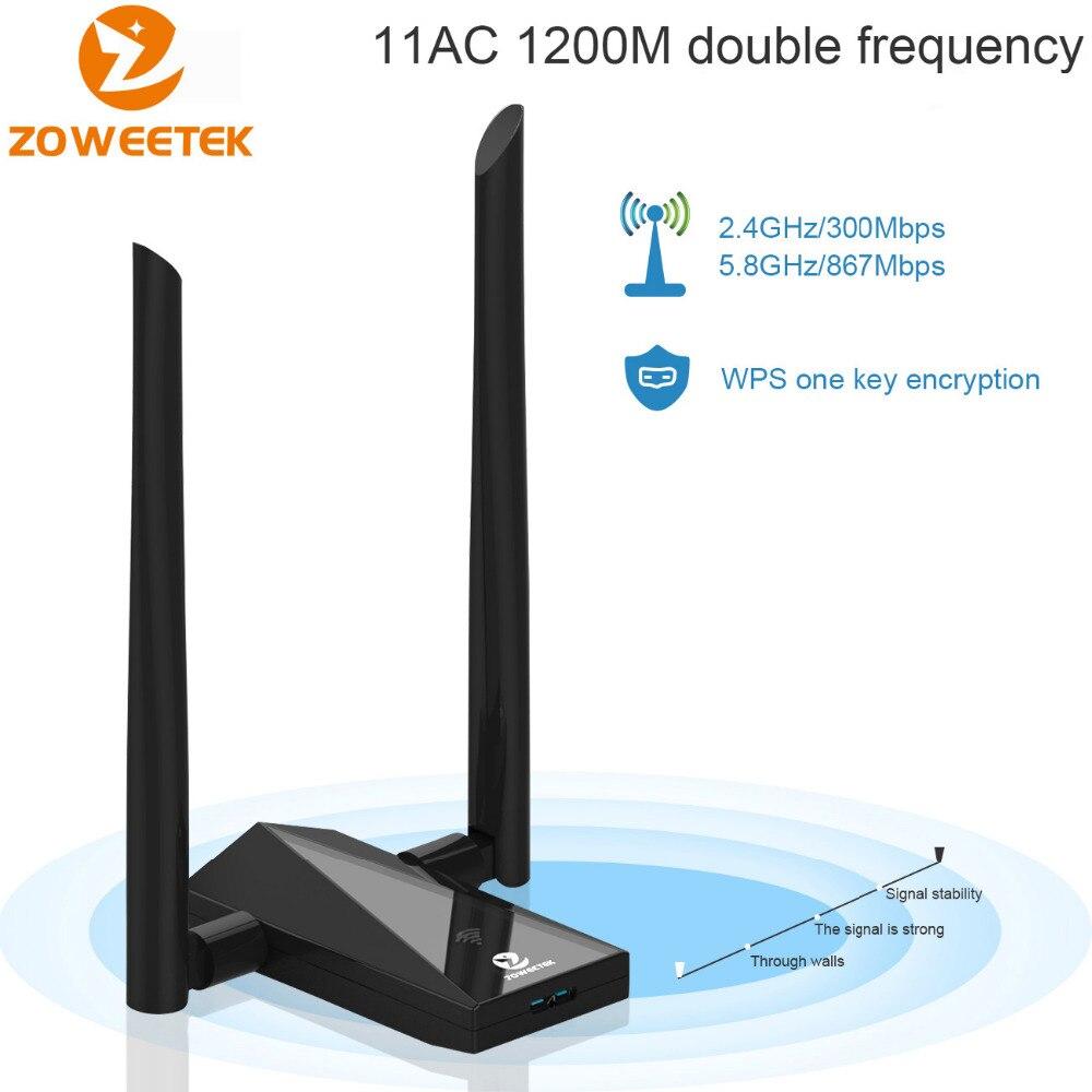Zoweetek Wifi Adaptateur USB 3.0 Lan Dongle 2 Antenne Répéteur 802.11ac 1200 Mbps Dual Band Wlan Récepteur Carte Réseau Pour PC Ordinateur Portable