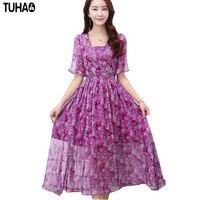 2017 lato nowa sukienka W Stylu Vintage Silk Maxi Sukienka Dla kobiety Flower Print Sukienki Kobiety Slim Kobiet Sukienka duży rozmiar CD25