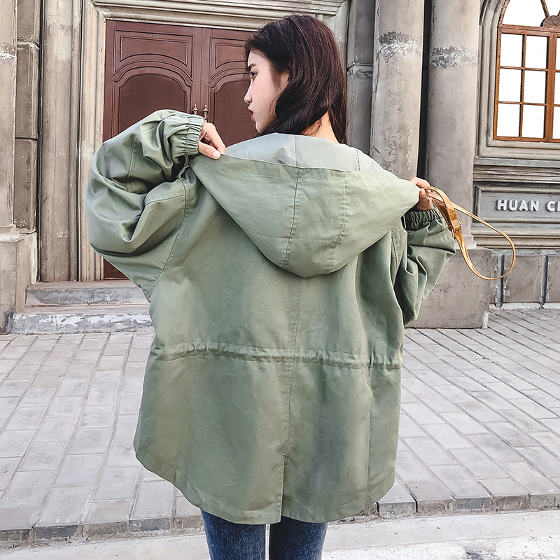 FTLZZ New Loose Trench Coat Spring Autumn Women's Hooded Black Green Windbreaker Outerwear Female Casual Trench Coat 11