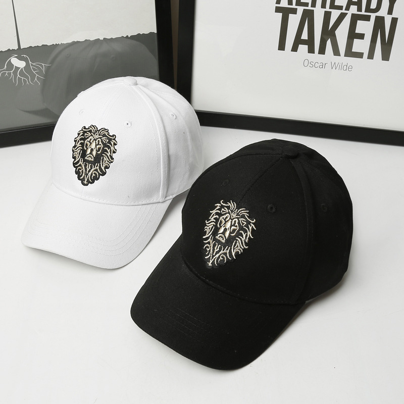 Lion Embroidery Pattern   Baseball     Cap   Women Men Solid Color Cotton Hat Unisex Fashion Casual Adjustable Sunscreen   Caps   CP0115