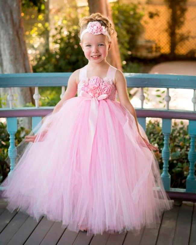 8f94d7dec7500 Allık Pembe Çiçek Kız Elbise Prenses Kız çocuk çocuklar elbise Nedime Düğün  Tutu Elbiseler Pembe Fantezi