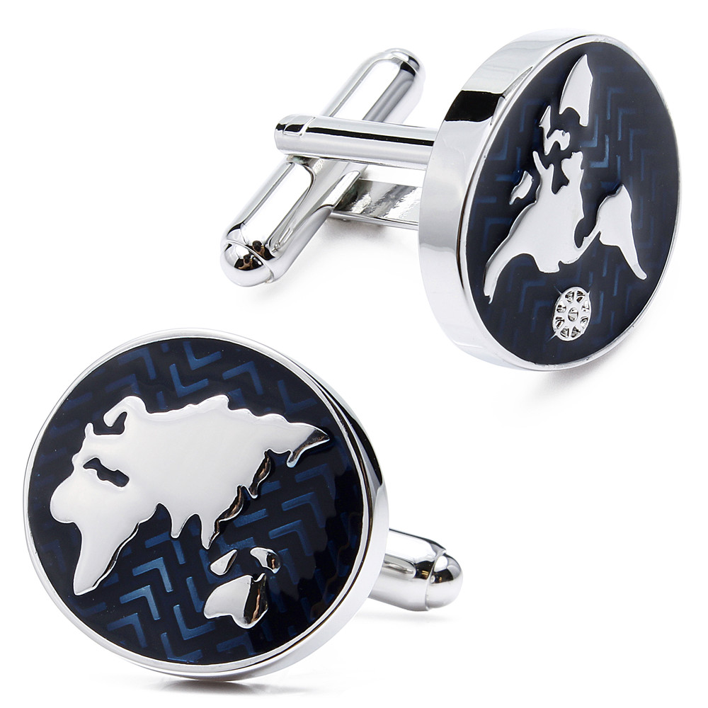 HAWSON Classic Style Cufflinks World Map Silver with Navy Blue Cuff - Fashion Jewelry - Photo 2