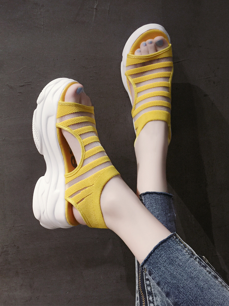 Elastic Belt Sports Sandals Summer New Women's Shoes Women's Thick Bottom Fish Mouth Mesh Sandals Stretch Fabric Beach shoes 32