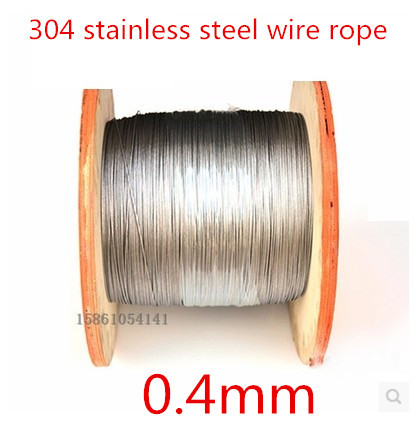 High Quality 100 Meters 0.4mm  1*7  Stainless Steel Wire Rope,