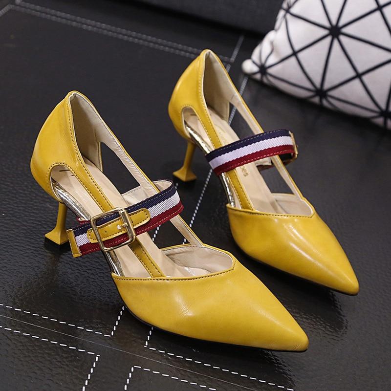 2019 amarillo Negro De Cinturón blanco Color Verano Temperamento Con Tacón Mujer Versátil Y Moda Nuevo Primavera Hebilla Señaló Sandalia aUYrqa