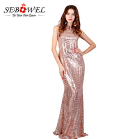 SEBOWEL 2017 Sexy Backless Floor Length Rose Gold Sequin Dress Sleeveless Bodycon Long Party Dress Women