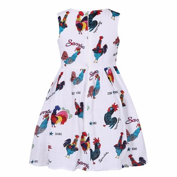 Girls Birthday Dress with Rooster Print 2017 Summer Princess Dress Children Clothing Vestidos Kids Dresses for Girls Costumes