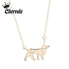 все цены на Chereda Hot Sale Wolf Shape Necklace&Pendant Growing Lovely Animal Gold Silver Color Jewelry Party Present онлайн