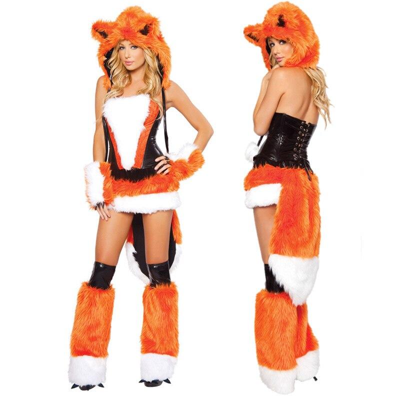 5Pcs/Set Deluxe Adult Women Girl Animal Fox Furry Costume Halloween Party Cosplay Fox Fancy Dress