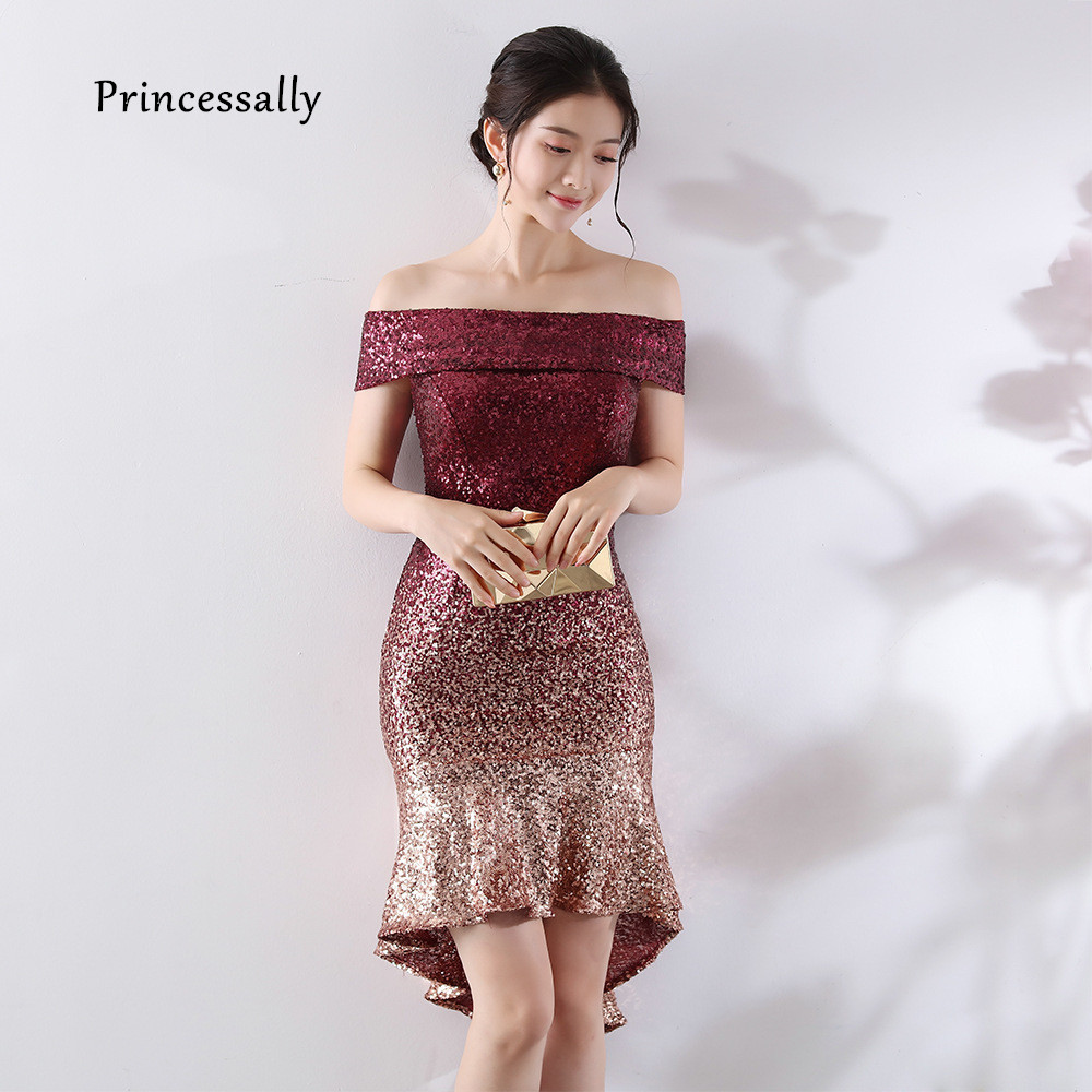 New Burgundy Sequin Cocktail Dress Nermaid Sexy Boat Neck Off The Shoulder Women Short Prom Gown Navy Lady Wedding Party Dresses cocktail dress