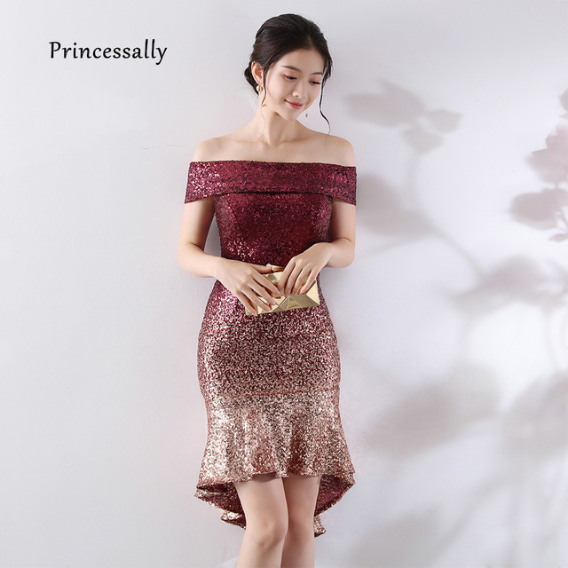Sequin Cocktail Dress New Burgundy Sequin Cocktail Dress Nermaid Sexy Boat Neck Off The Shoulder  Women Short Prom Gown Navy Lady Wedding Party Dresses