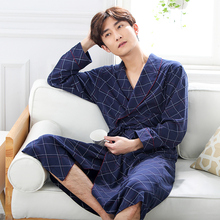 Nightgown pajamas mens spring and autumn modal long-sleeved male sense in the long paragraph bathrobe clothing home service