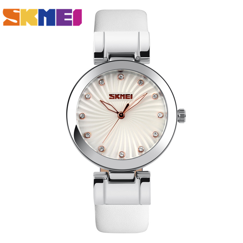SKMEI Brand Women Fashion Dress Watches Leather Strap Casual Quartz Watch Ladies Student Wristwatches 2017 New Clock