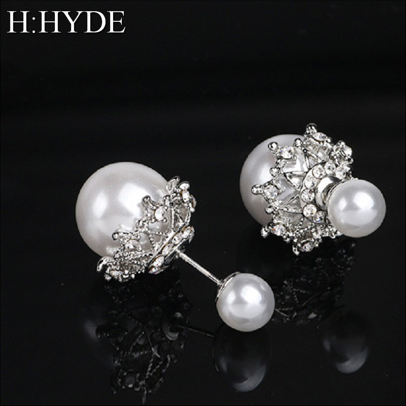 H:HYDE Brand New Wholesale Charm Vintage Design Style Round AAA Imitation Pearl Earrings Stud For Women Elegant Bridal