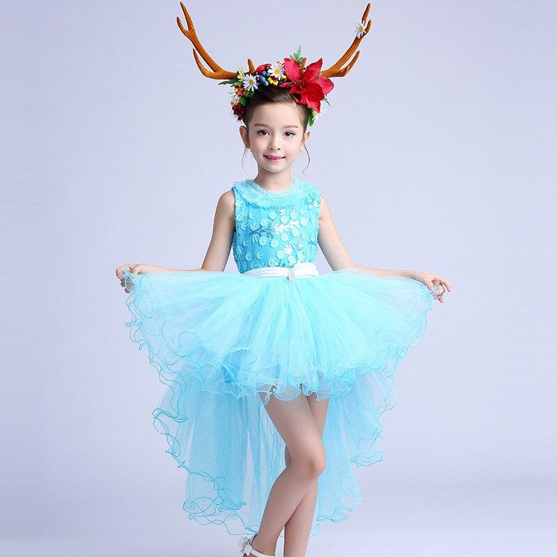 Fancy Blue Girls Dress Children Flower Girl Vestidos 2017 ...