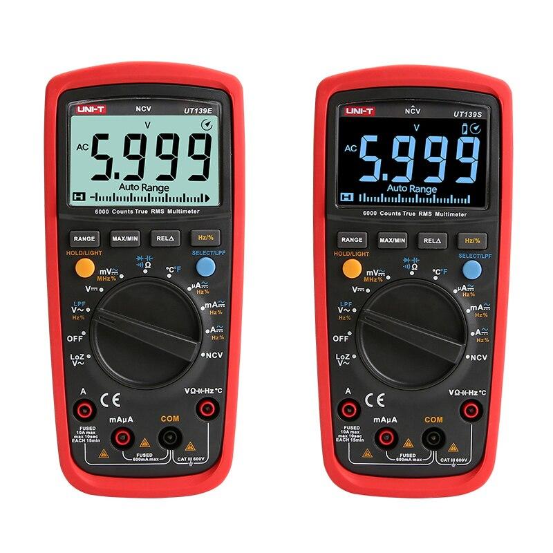 UNI-T UT139E UT139S Digital Multimeter Temperature Probe LPF pass filter LoZ low impedance input Diagnostic-tools True RMS Meter цены онлайн