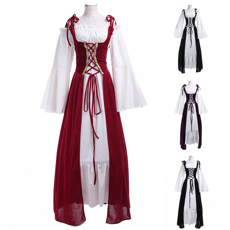 ROLECOS 2017 Oktoberfest Festival Medieval Women Long Red Dresses Bavarian Beer Girl Costume Carnival Party Fancy Dresses