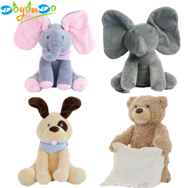 30cm Peek Boo Elephant Bear Dog Stuffed Animals Interactive Toy