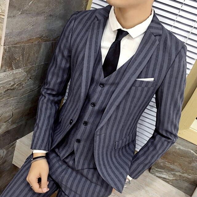 Trajes de hombre de Negocios casual rayas traje chaqueta Guapo Delgado del banquete de boda vestido de 2017 del otoño nuevos hombres de alta calidad ropa