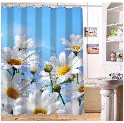 YY612f 214 New Custom Natural Landscape Daisy Field Flower #4 Modern Shower  Curtain Bathroom