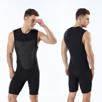 Surfing Sleeveless Wetsuits Men's 2mm Neoprene Scuba Diving Suits Shorty Wetsuit With Hook & Loop Shoulder Closure Snorkeling