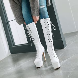 Image 3 - Morazora 2020 nova chegada do joelho botas altas mulheres dedo do pé redondo outono rendas até plataforma botas sexy stiletto sapatos de baile