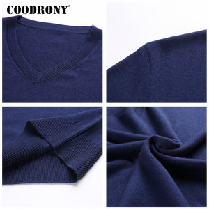 Image 5 - COODRONY suéter de cachemira grueso y cálido para hombre, ropa para hombre, suéter de lana Merino de 100%, suéter de talla grande con cuello en V, 2018