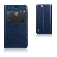 6 цветов, Натуральный Верх натуральная кожа умного окна подставка чехол для Huawei Honor 6 Plus роскошный мобильный телефон сумка