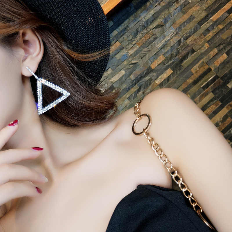 Triangle Crystal Earrings 2019 Trend Fashion Jewelry Cute Romantic Personality Geometric Rhinestone Hollow Earrings for Women