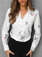 2019 Trend Women Stylish Leisure Fashion White Blouse Elegant Tops Workwear 11 Colors Multicolor Print Long Sleeve Casual Shirt